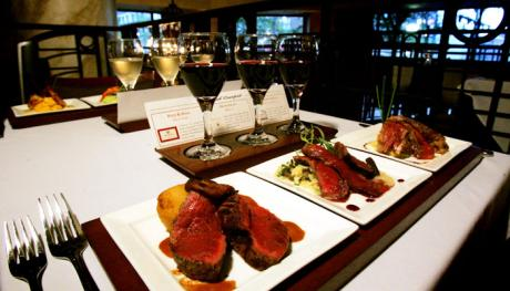 Food and wine pairing at Flight. Photo Credit: Brad Luttrell