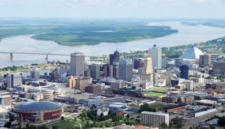 Memphis Skyline from FedExForum to Mississippi River. Photo Credit: Capture Memphis / Colliervillephoto.com