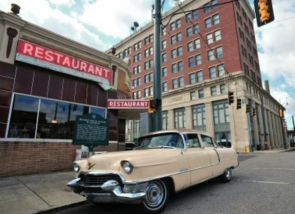 See Memphis in the back of a 1955 Cadillac with American Dream Safari. Photo by Andrea Zucker.