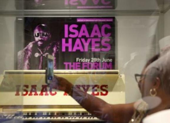 Cool Isaac Hayes piano on display at the Memphis Music Hall of Fame. Photo by Troy Glasgow