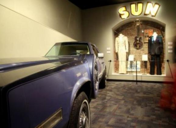 Sun Records exhibit at the Memphis Music Hall of Fame. Photo by Troy Glasgow.
