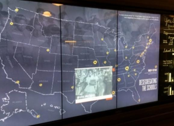 Interactive touch screens at the National Civil Rights Museum. Photo by Memphis CVB