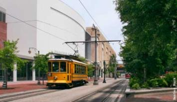 The Memphis Cook Convention Center is located on the trolley line in Downtown Memphis. Photo by Baxter Buck.
