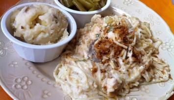 Chicken tetrazzini from Stone Soup Cafe. Photo by Kerry Crawford.