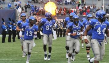 University of Memphis Football Tigers take the field. Photo by Andrea Zucker
